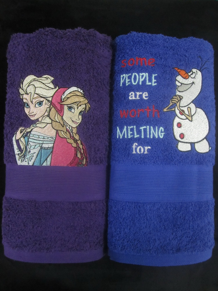 Embroidered Frozen sisters and Olaf on towels