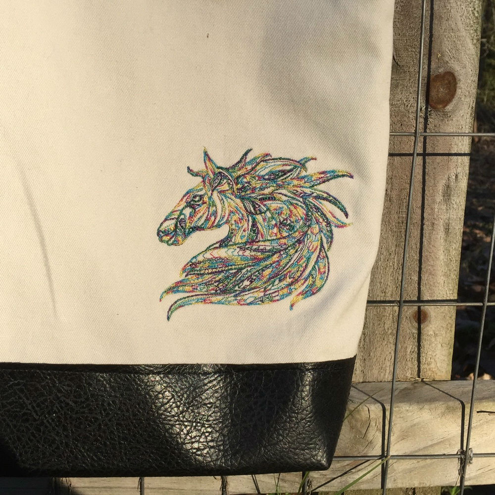 Embroidered Mosaic horse design on bag