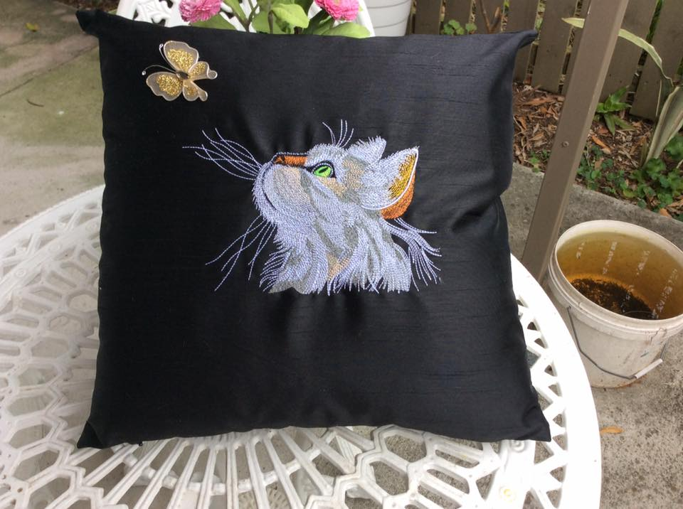 Curious cat  design on pillowcase embroidered