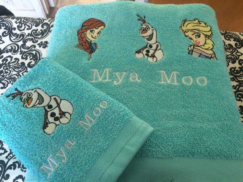 embroidered towels with Frozen designs