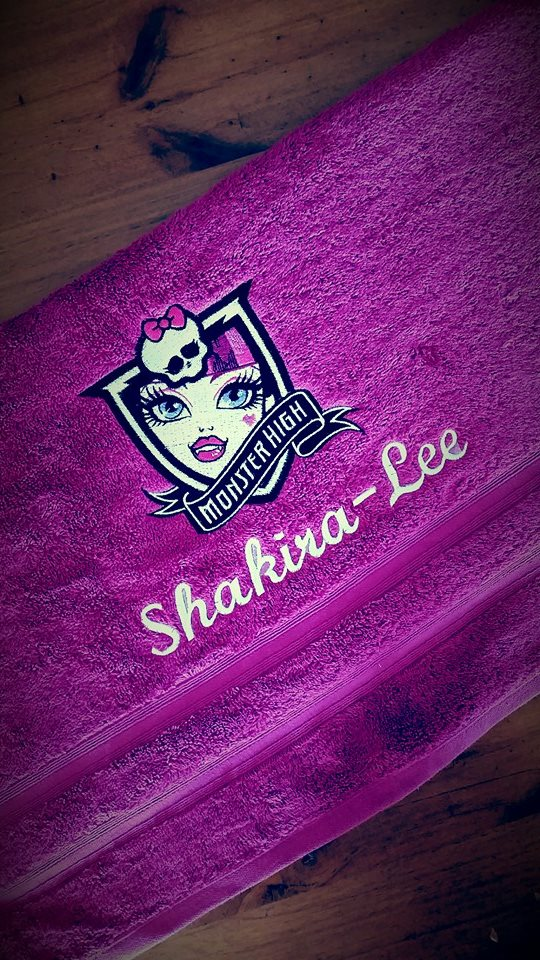 Towel with Monster High Draculaura embroidery design
