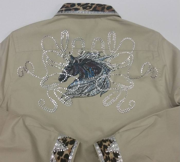 Woman jacket with Mosaic horse embroidery design