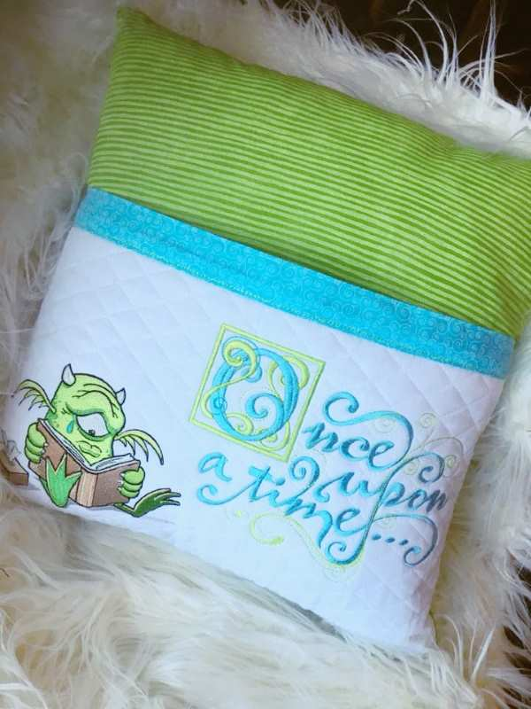 Monster cushion embroidery design