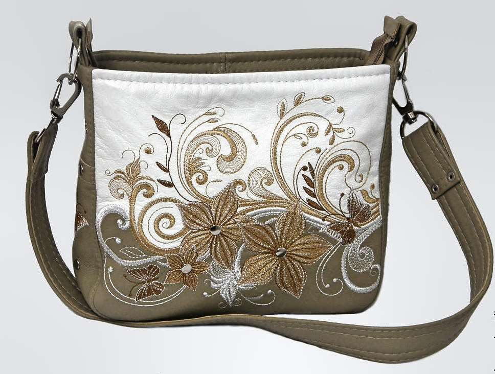 Fashion bag with swirl flower bouquet embroidery design