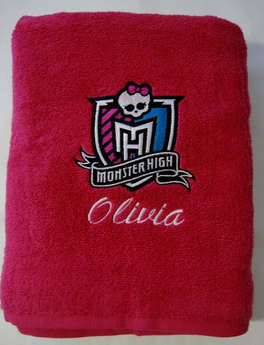 Monster High logo machine embroidery towel