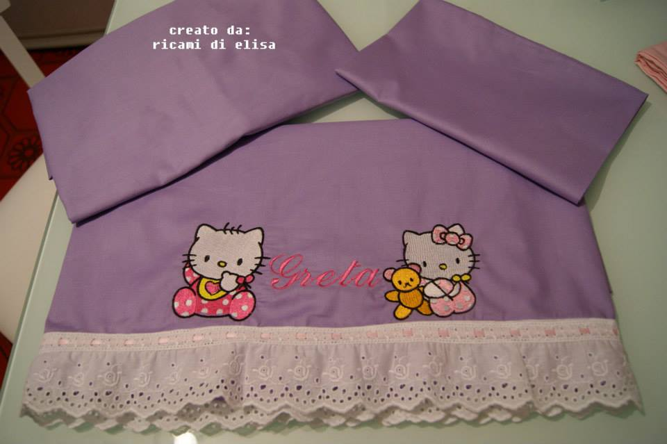 Hello Kitty designs embroidered