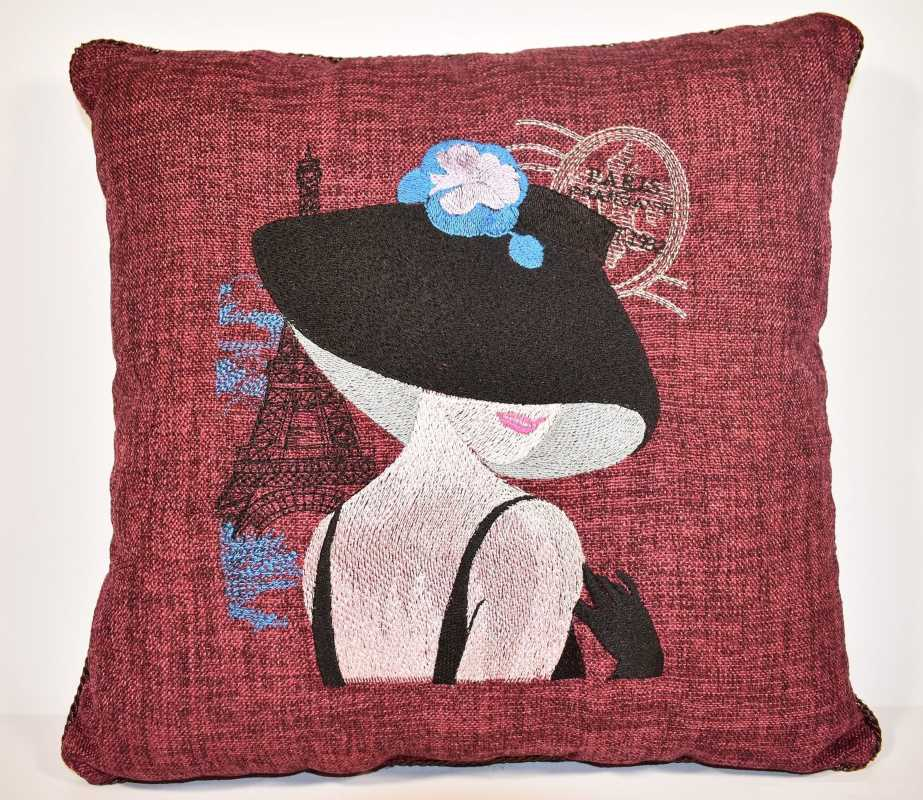 Embroidered pillow with french coquette design