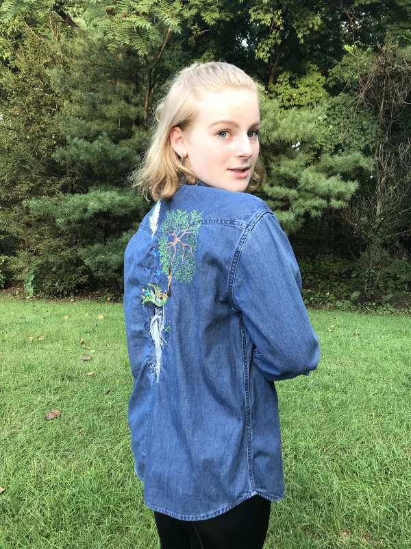 Denim jacket with root man embroidery