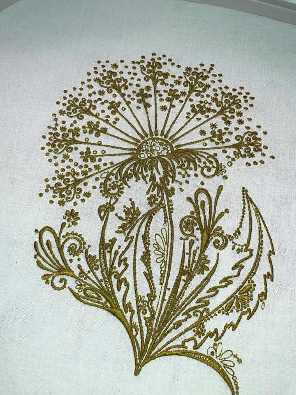 Dandelion autumn time embroidered design
