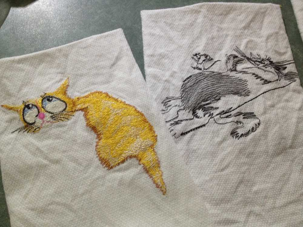 sleepng cat free machine embroidery