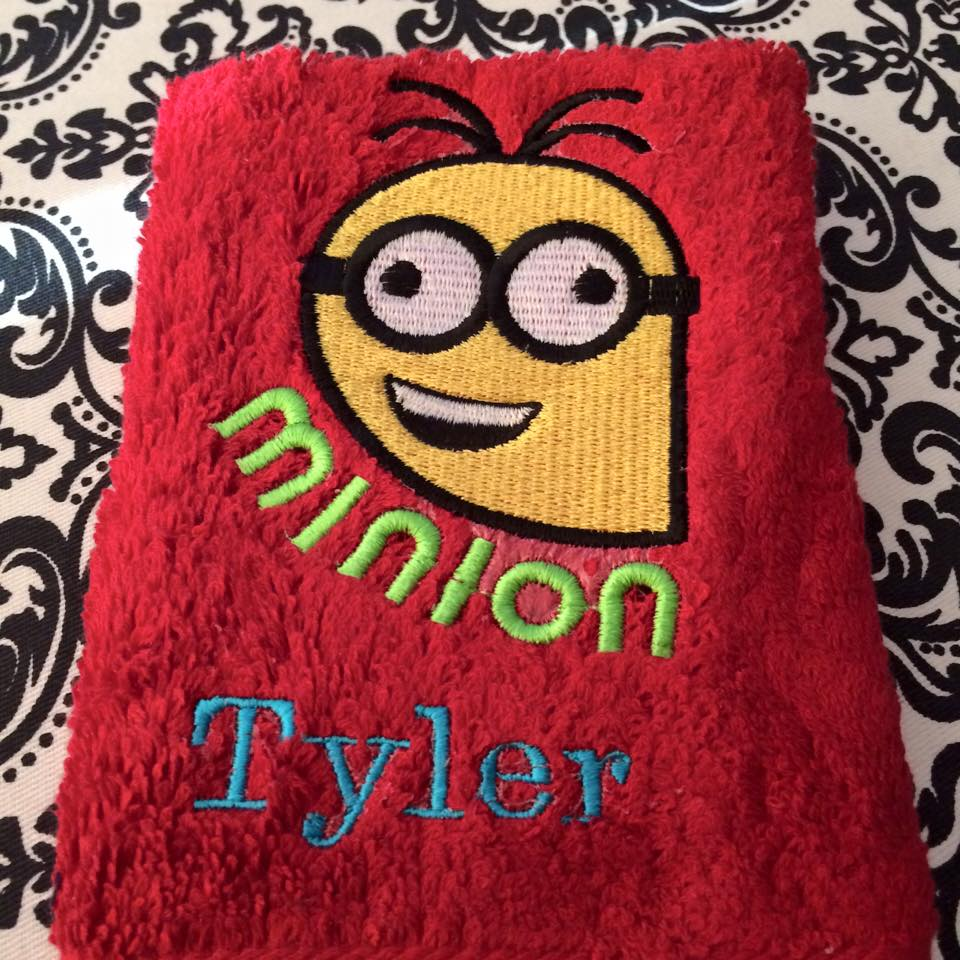 Crazy Minion embroidered on towel