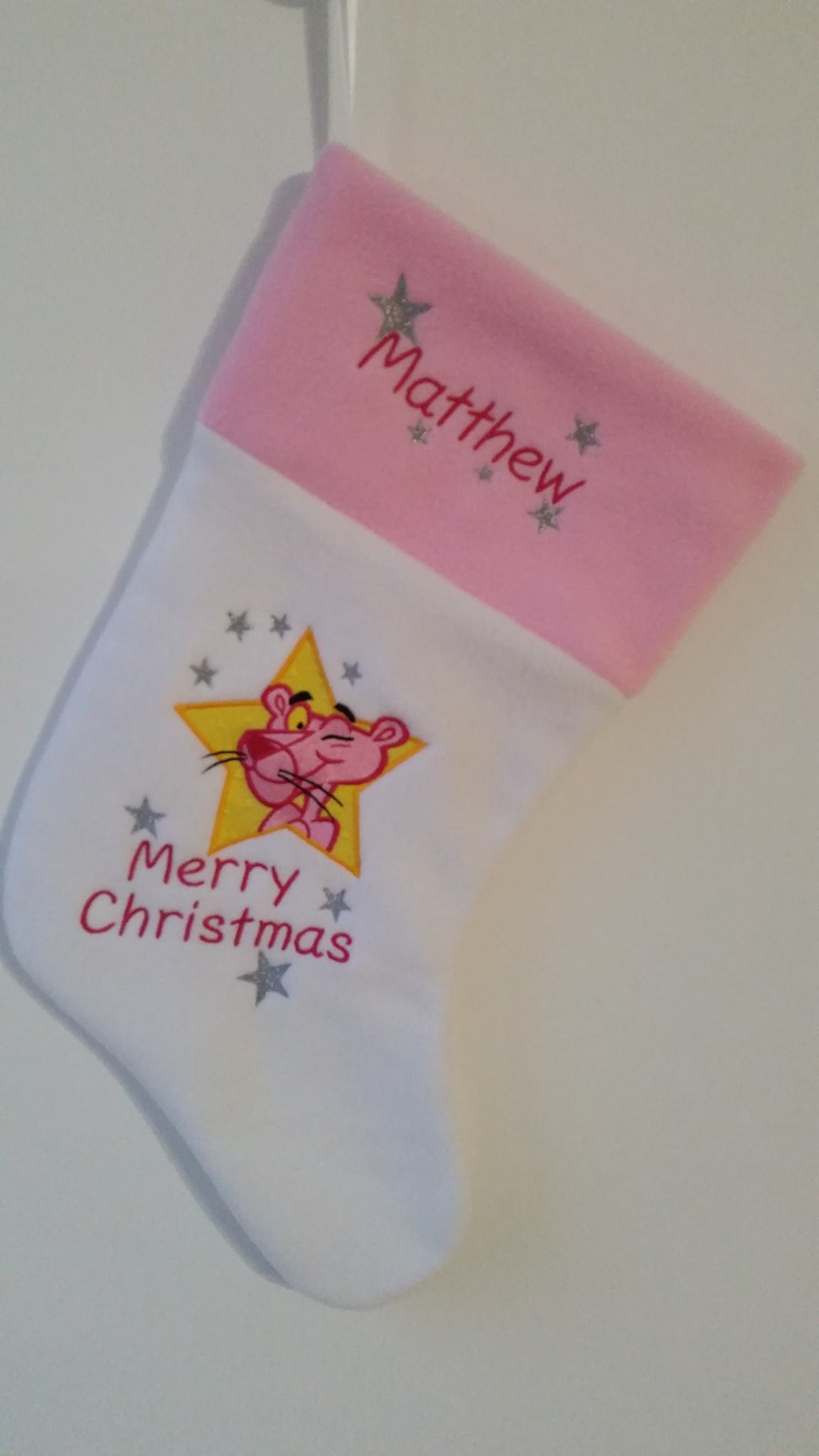 Pink Panther embroidered on Christmas sock