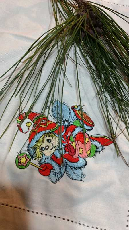 Napkin with Christmas Elf embroidery design