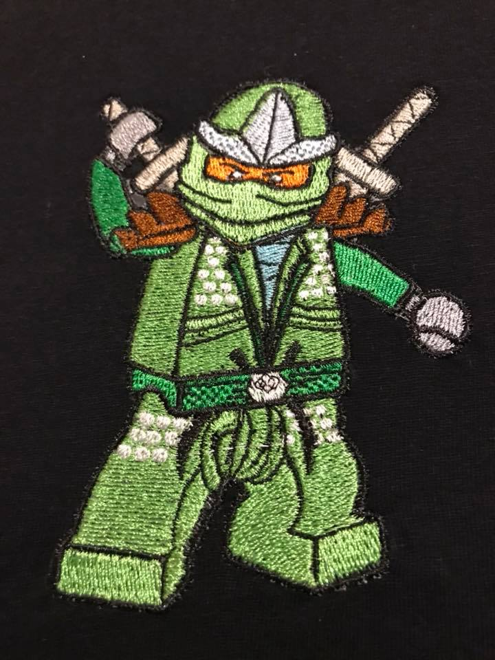 Lego Green Ninja miniiig embroidery design