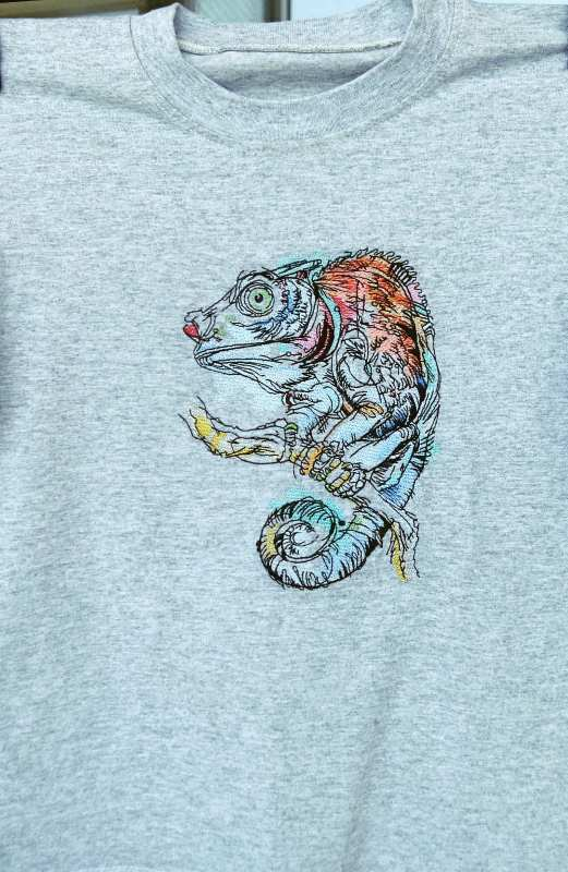 Shirt with lizard Chameleon embroidery design