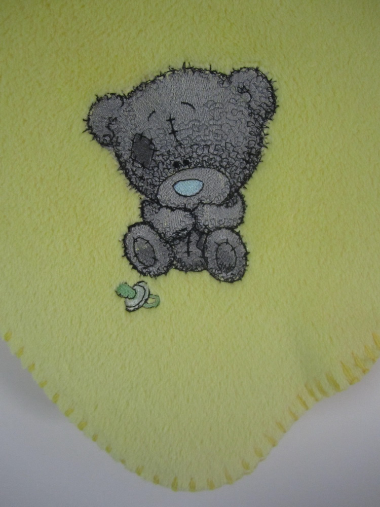 Shy tatty teddy with dummy on embroidered fleece blanket