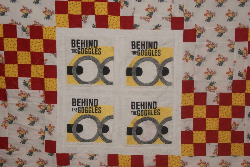 Minion: behind the goggles design on quilt1