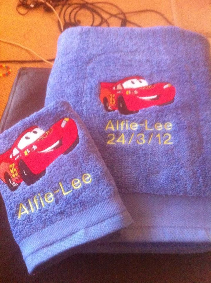Cool McQueen design on towel embroidered