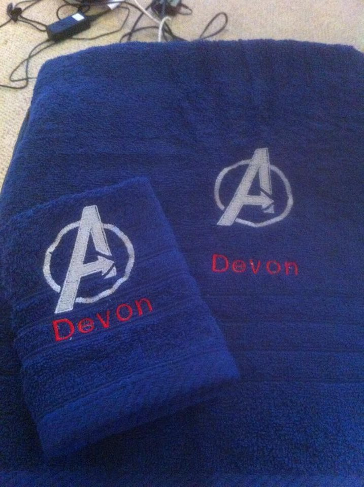 Embroidered blue towel with Avengers Log