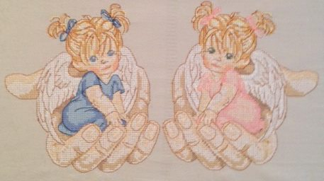 Angel in the palm design embroidered