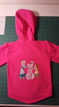 Girlish embroidered hoodie with Anna, Elsa and Olaf