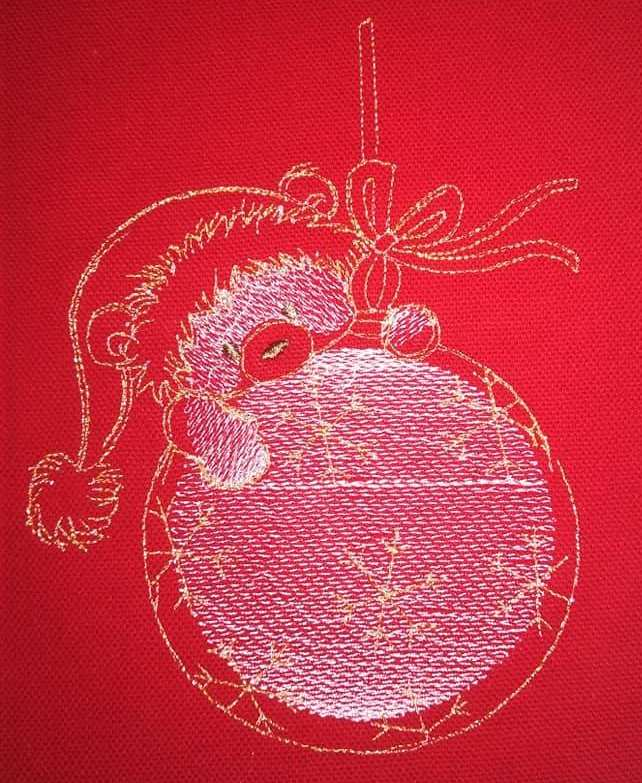 Teddy Christmas ball embroidery design