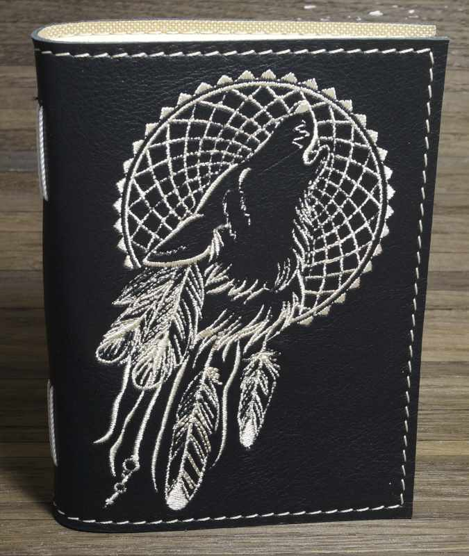 Leather notepad cover with embroidery design