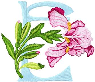 Iris Letter E machine embroidery design