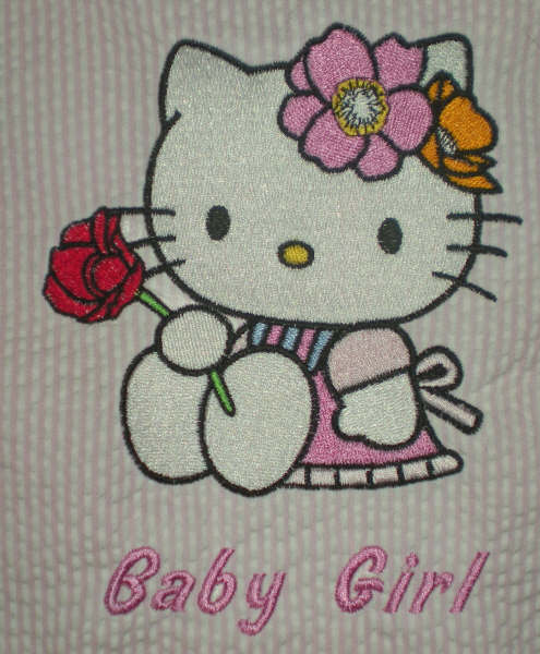 Hello kitty with rose design embroidered