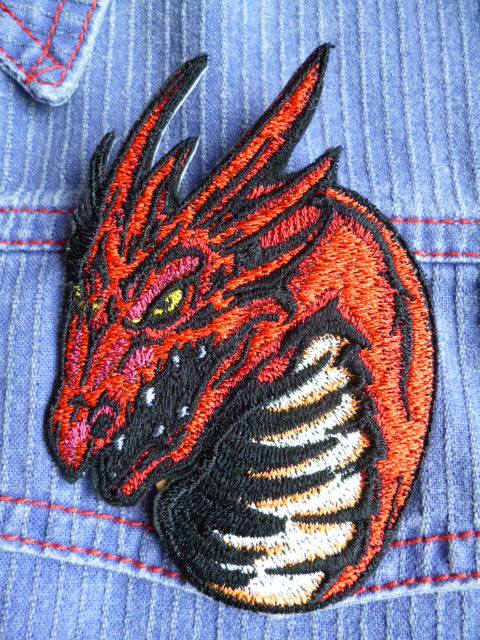 Rock dragon design embroidered