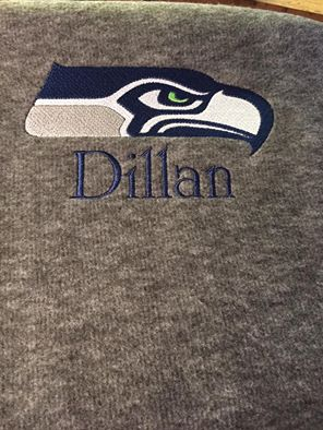 Seattle Seahawks logo design embroidered