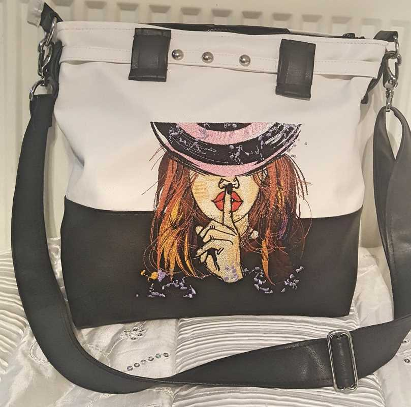 Fashion woman bag with red hair lady embroidery