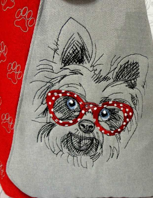 Embroidered white terrier design