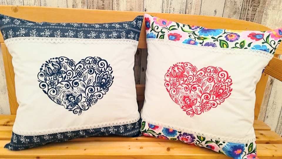 Two embroidered сushion with loving heart design