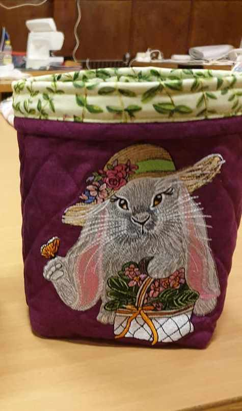 Embroidered soft basket with Easter bunny design