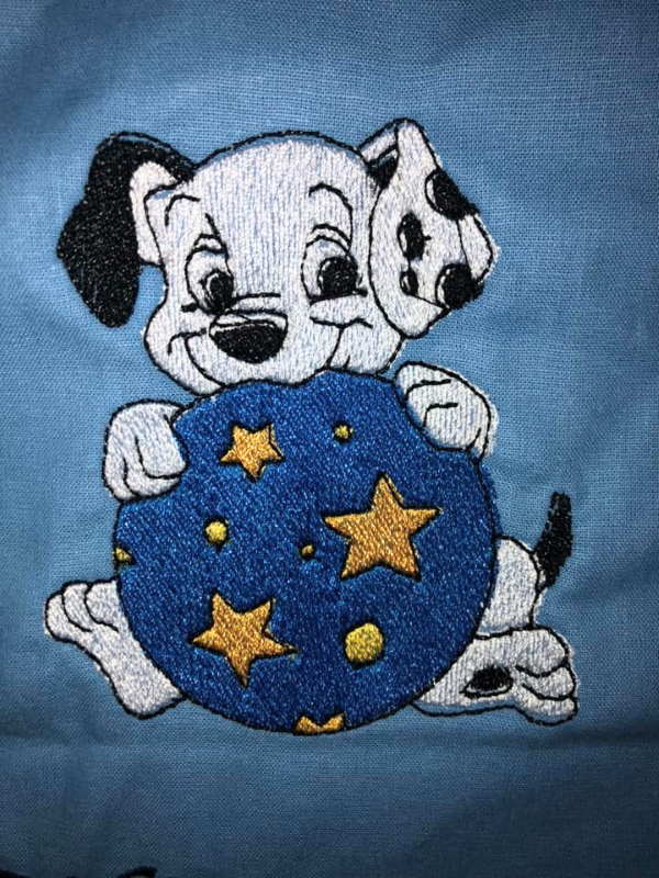 Dog with circus ball embroidery design