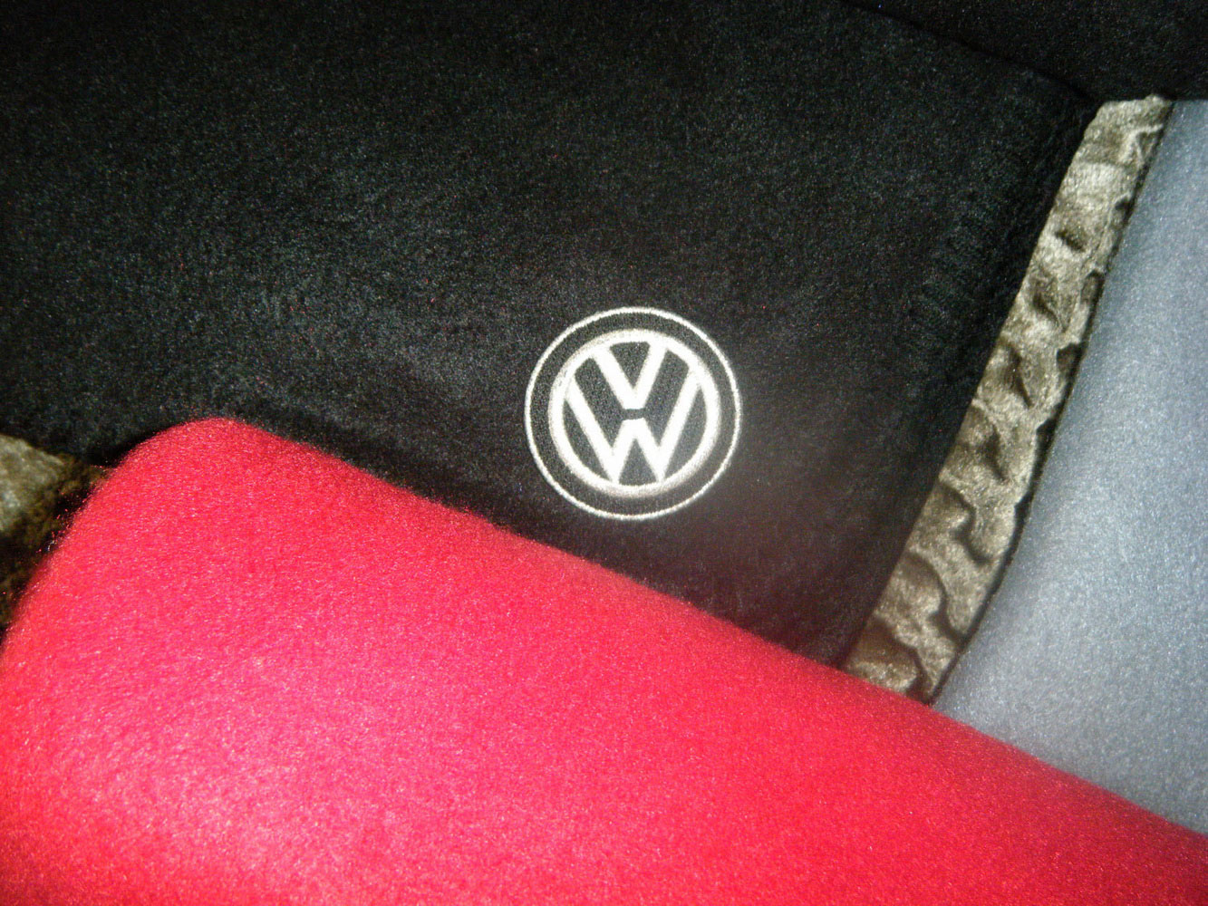 Volkswagen embroidered logo on blanket