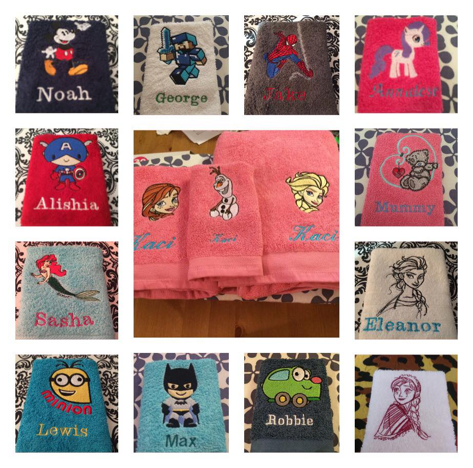 Bath towels embroidered with cartoon designs