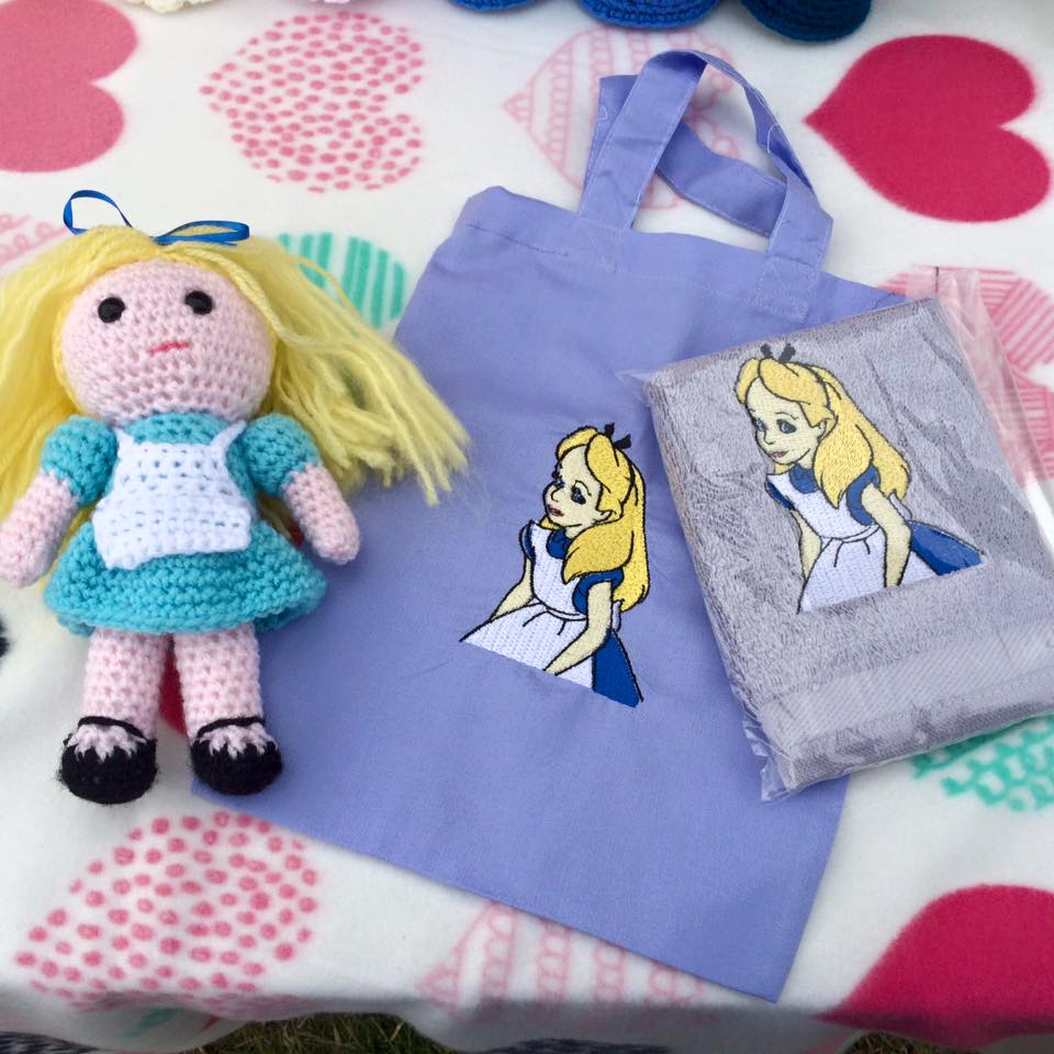 Alice in Wonderland embroidered on bag and towel