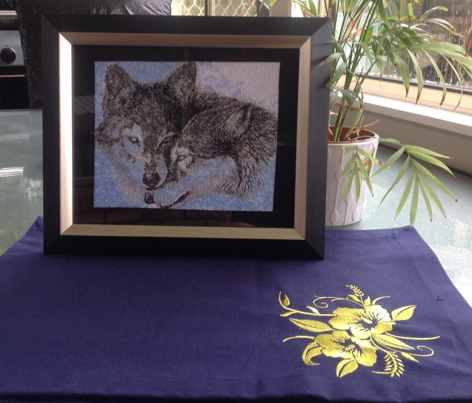 Two wolfs photo stitch free embroidery design framed