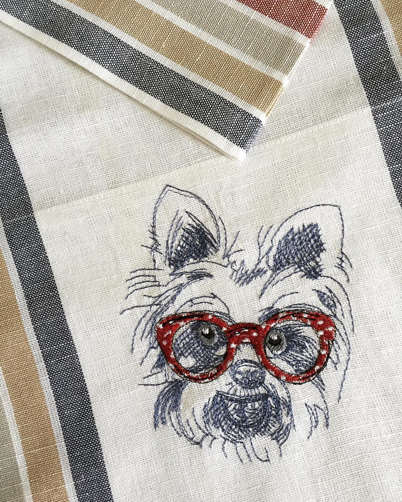 White terrier embroidery design on towel
