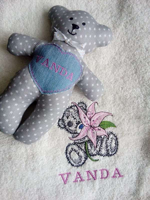 Bath towel with Teddy Bear lily embroidery design