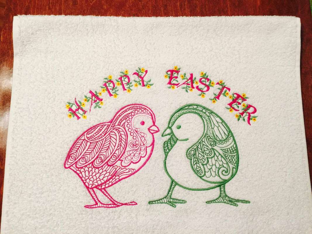 Easter towel with chickens embroidery designs
