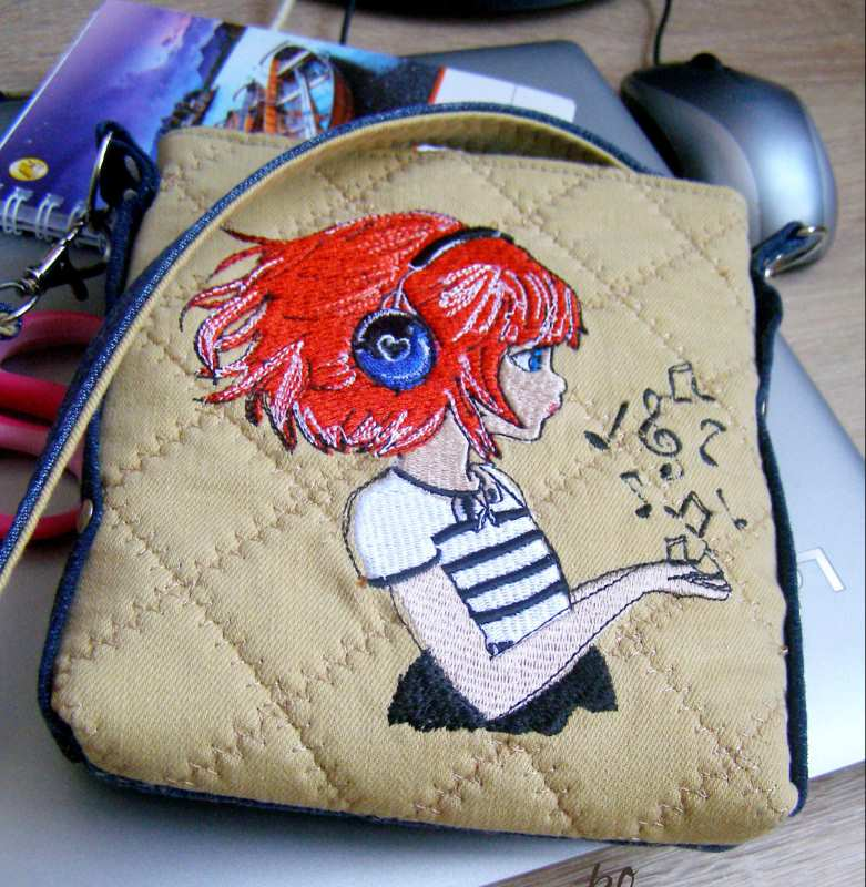Small bag with music girl embroidery design