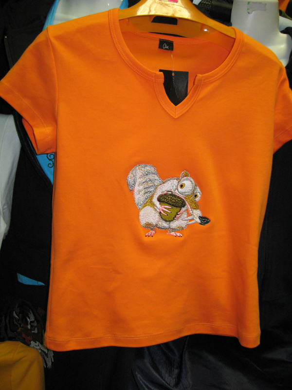 Embroidered Scrat desig on t-shirt