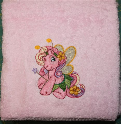 My little pony fairy design on embroidered towel