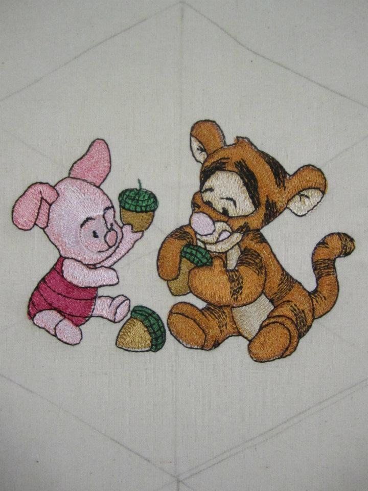 Baby Tiger and baby Piglet design embroidered