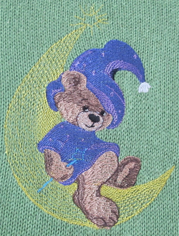 Teddy Bear Wizard embroidered on baby wear