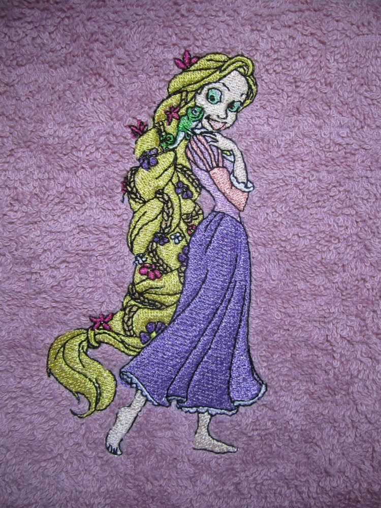 Embroidered Tangled Beautiful design on towel