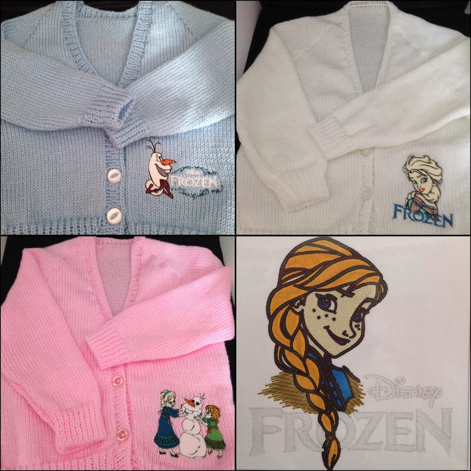 Frozen sisters and Olaf embroidered on knitted jackets